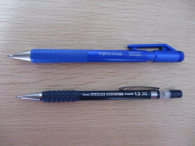 「コクヨ 鉛筆シャープTypeS」と「ぺんてる マークシートシャープペン」の比較する